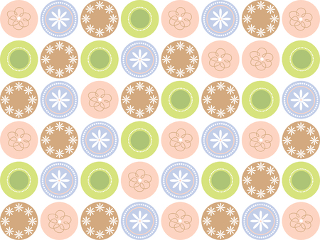 retro sweet flower dots Vector