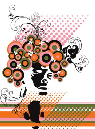 retro model silhouette floral abstract Vector