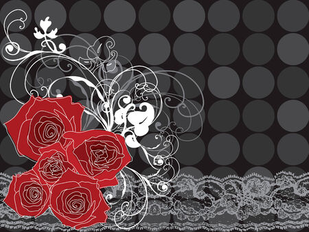 valentine red roses and lace Vector