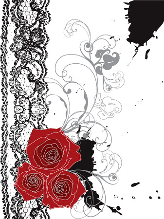 valentine red roses and lace swirl  Vector