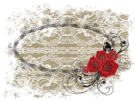 Dentelle cadre ovale valentine roses rouges et tourbillons
