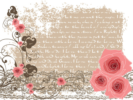 sweet pink roses and vintage poem  Vector