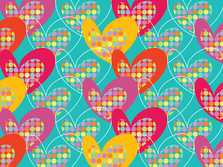 retro colorful pop dots hearts on turquoise Vector