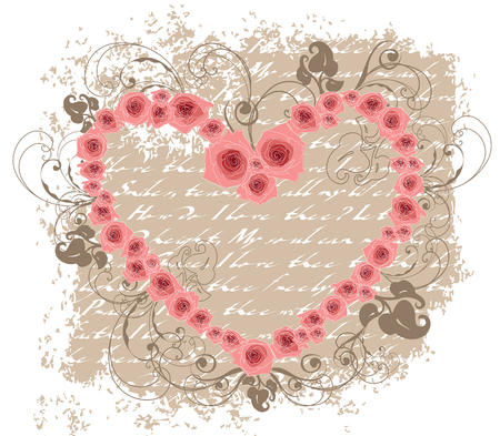 open heart pink roses love poem valentine Stock Vector - 2365395