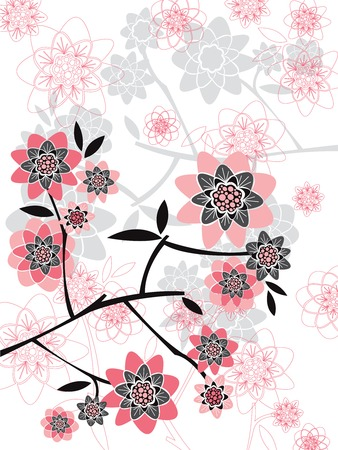 pink spring floral silhouettes Vector