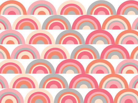 scallop: pink rainbow retro scallop pattern