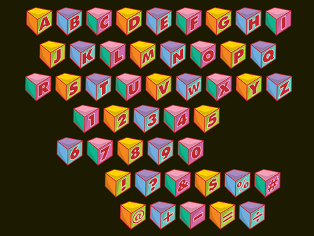 colorful alphabets & numbers blocks Vector