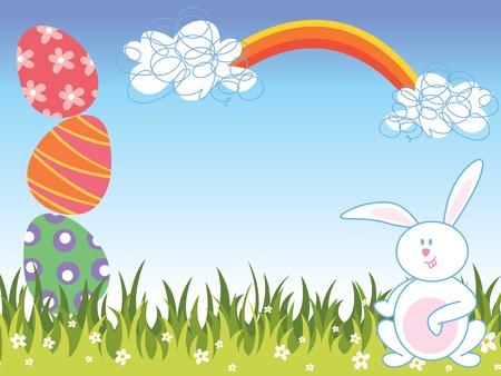 Caricaturas de conejos y huevos de Pascua  Foto de archivo - 2595351