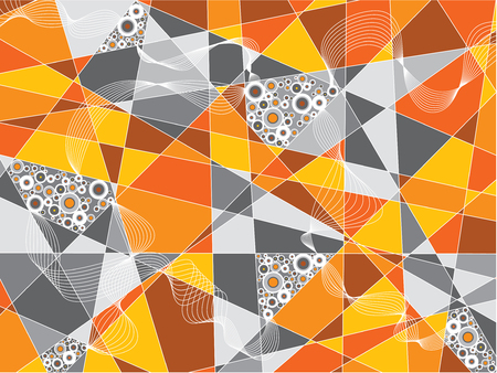 fragments: orange gray fragments circles abstract background (vector) Illustration