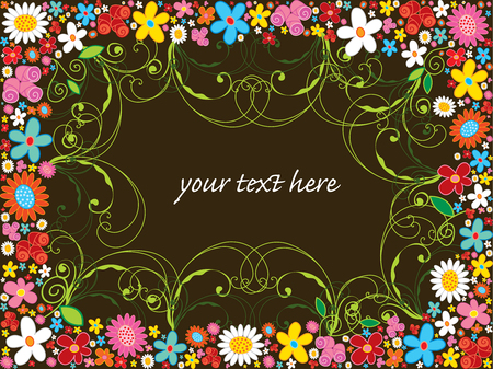 spring flower frame and swirls (vector) Vector