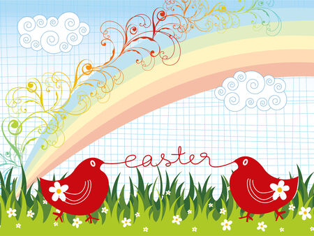 easter chicks rainbow swirls greeting (vector) Vector