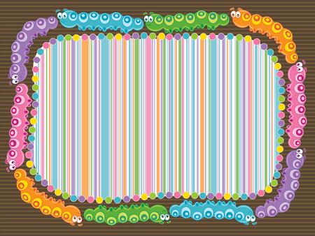 cartoon caterpillar stripes frame (vector)
