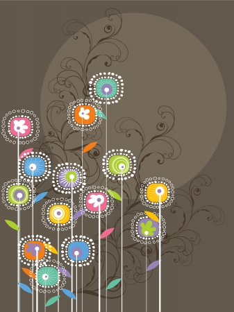 whimsical bright flowers and swirls (vector) Vector