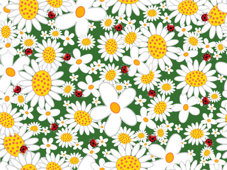 white daisies and ladybugs (vector) - seamless tiled pattern