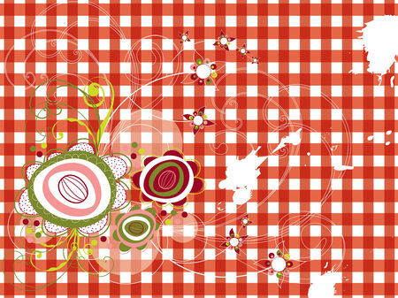 retro grunge flowers on red gingham (vector)