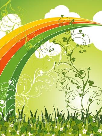 arco iris vector: Patrick campo santo de arco iris y clovers (vector)