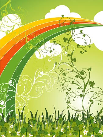 saint patrick field of clovers and rainbow (vector) Vector