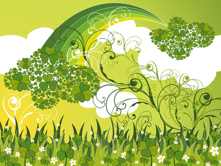 saint patrick clover clouds and swirls (vector) Vector