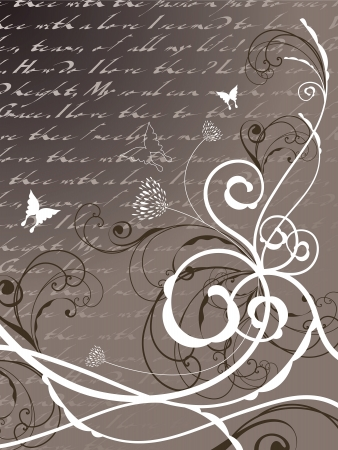 poetry floral butterfly swirl (vector)