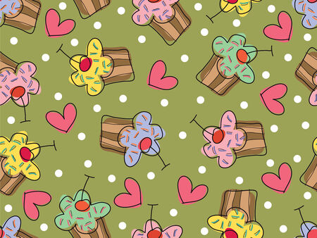 i love cupcakes (vector) - seamless tile pattern Vector