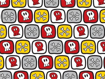 Dibujos animados cráneos y huesos patrón (vector)  Foto de archivo - 2679451