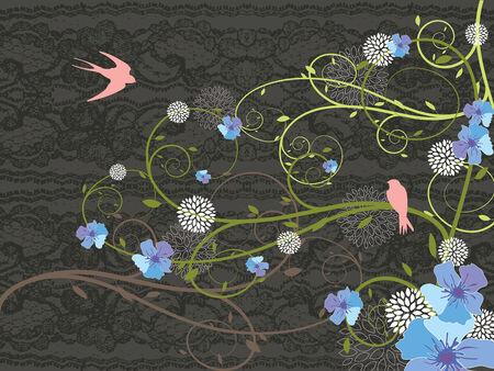 hirondelles florales bleues de lacet et de rose de ressort (vecteur)