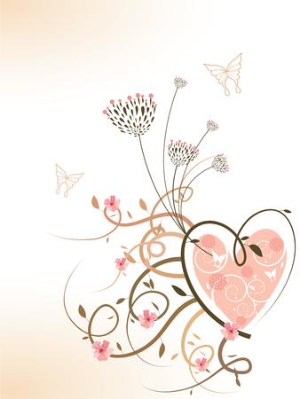 pink spring floral heart swirls (vector) Illustration