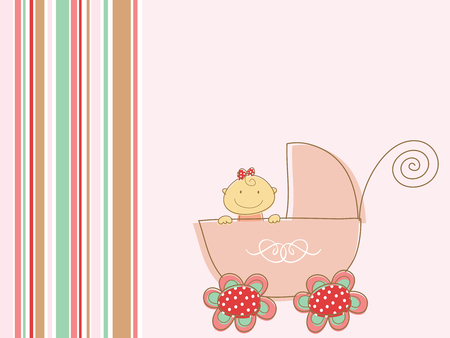 cute pink baby girl and pram (vector) Vector