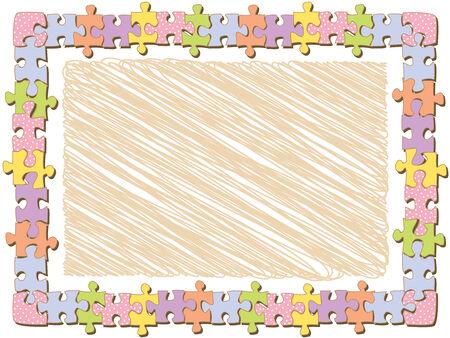 cadre puzzle rectangle avec des points (vecteur)
