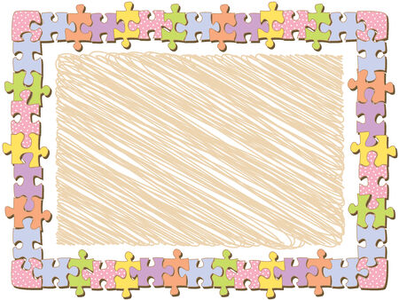 joining the dots: rectangle jigsaw frame with dots (vector)