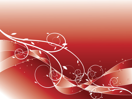 flow of colors: abstract floral swirl glitter red background (vector)