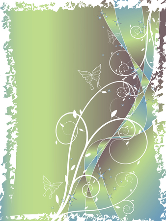 abstract floral swirl glitter blue green background (vector) Vector