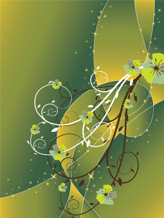 abstract floral swirl glitter green brown background (vector) Vector