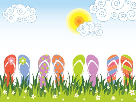 summer colorful flip flops in the grass (vector) Illustration
