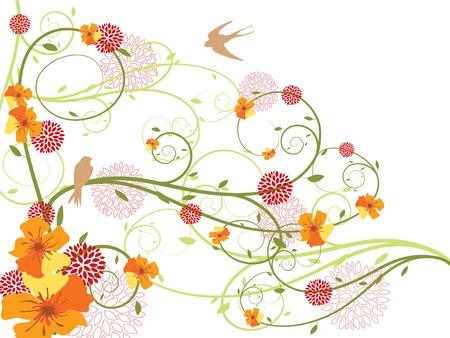 remous floraux jaunes de ressort et hirondelles (vecteur) Illustration