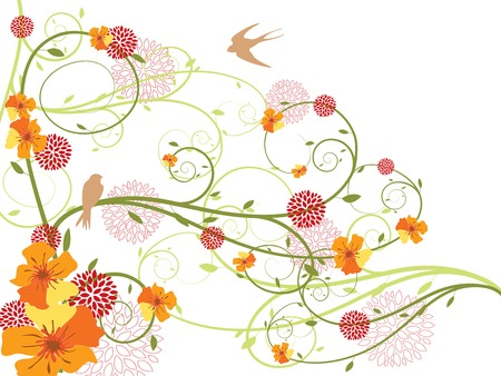 spring yellow floral swirls and swallows (vector) Illustration