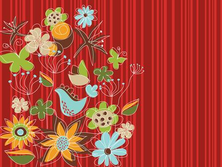 Freestyle parc floral rouge (vecteur)  Illustration