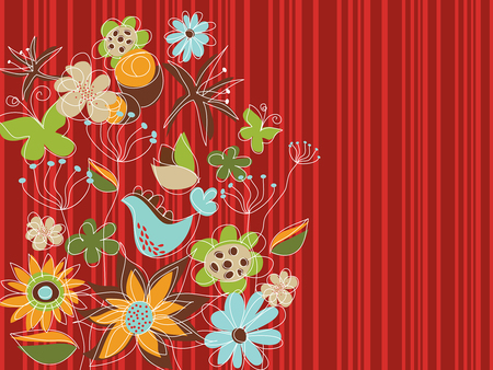 freestyle red floral garden (vector) Vector