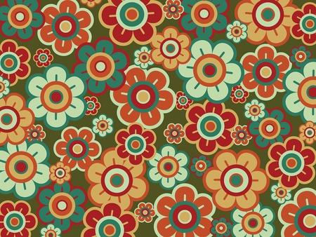 retro pop red green daisies (vector) Vector