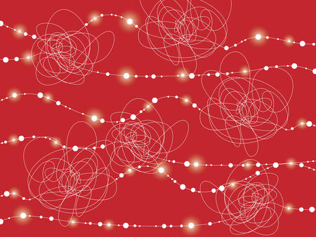 white messy lines flow on red (vector) Vector
