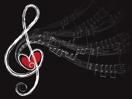 music: treble love and music notes (vector) - illustration