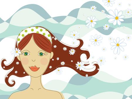 fille aux yeux vert avec des fleurs dans Spa (vecteur) - illustration