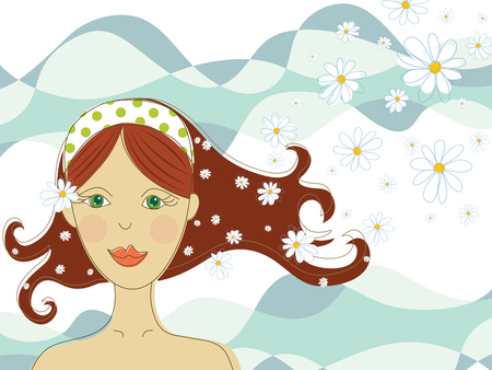 modern lifestyle: green eyed girl with flowers in spa (vector) - illustration