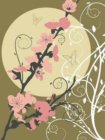 asian: pink sakura moon swirl (vector) - illustration