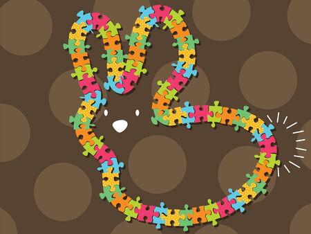 colorful jigsaw bunny frame (vector) Stock Vector - 2842428