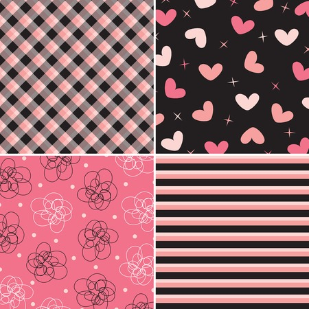 pink and black pattern combo (vector) Vector