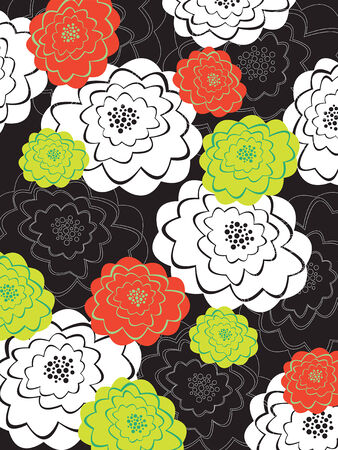 orange and green blooms on black - illustration Illustration