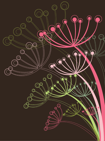 chocolate and pink dandelion - illustration Vector