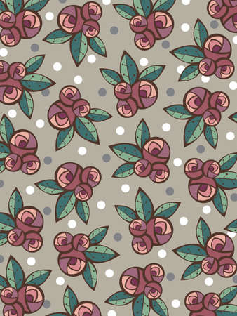 vintage roses and leaves pattern - illustration Stock Vector - 2929733