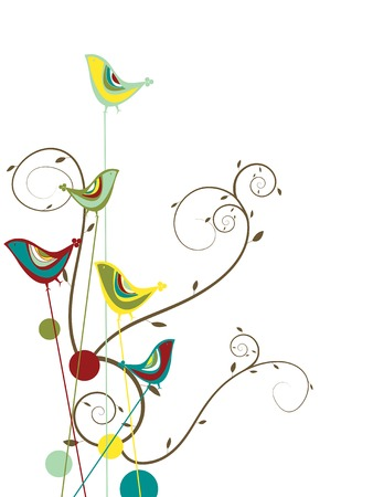 colorful summer bird and swirls - illustration Vector